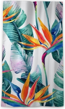 Watercolor tropical seamless pattern with bird-of-paradise flower. Blackout Window Curtain