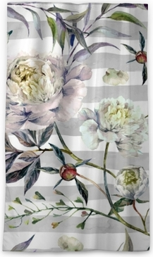 Watercolor White Peonies Pattern Blackout Window Curtain