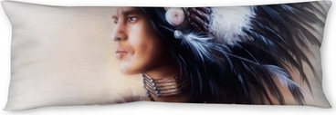 beautiful painting of a young indian warrior wearing a gorgeous Body Pillow