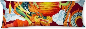 Chinese Dragon watercolor seamless pattern. Body Pillow