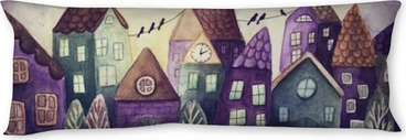 Fantasy colorful houses Body Pillow