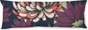 Flowers in the night garden. Hand drawing. Elegant floral pattern Body Pillow