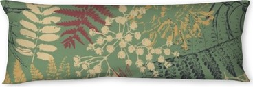 grunge flowers and leaves Body Pillow