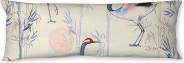Hand-drawn watercolor seamless pattern with white Japanese dancing cranes. Repeated background with delicate birds and bamboo Body Pillow