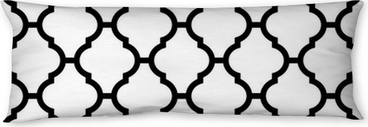 moroccan seamless pattern in black and white Body Pillow