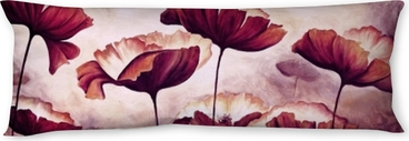 Painting poppies canvas Body Pillow