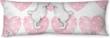 Seamless pattern with cartoon white rabbits 3 Body Pillow