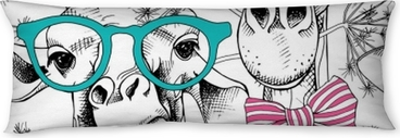 Seamless pattern with giraffes in the glasses and with bow. Vector illustration. Body Pillow