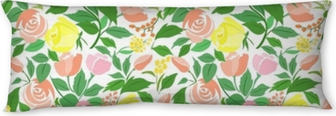 Seamless pattern with roses delicate flowers, small flowers and green leaves. Body Pillow