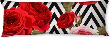 Seamless pattern with roses ground Body Pillow