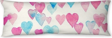 Seamless watercolor pattern with colorful hearts - pink, purple, blue tints. Body Pillow