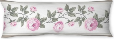 set of seamless floral borders with roses Body Pillow