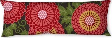 Traditional flowers seamless pattern Body Pillow