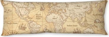 Vintage Illustrated World Map Body Pillow