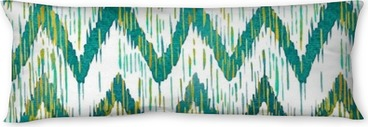 Watercolor ikat chevron seamless pattern. Green and blue watercolour . Bohemian ethnic collection. Body Pillow