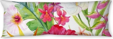 Watercolor tropical floral pattern Body Pillow