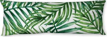 Watercolor tropical palm leaves seamless pattern. Vector illustration. Body Pillow