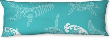 Whale family swimming in the ocean waves, pattern seamless background Body Pillow