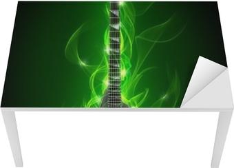 Elektrisk guitar i grøn ild og flamme Bord og skrivbordfiner