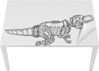 Mekanisk dinosaur dyr gravering vektor Bord og skrivbordfiner