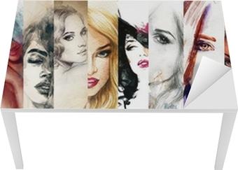 Smuk kvinde ansigt. akvarel illustration Bord og skrivbordfiner