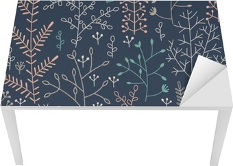 Sømløs mønster med minimalistisk blomsterkurv Bord og Skrivbordfiner