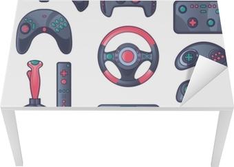 Spil gadget farve ikoner sæt Bord og skrivbordfiner