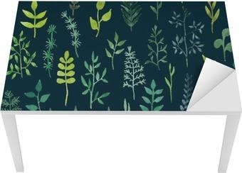Vektor grøn akvarel blomster sømløse mønster. Bord og Skrivbordfiner
