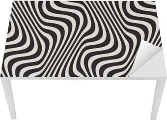 Bord- og skrivebordsklistremerke Bølgete linjer Optisk illusjon. Vector sømløst svart og hvitt mønster.