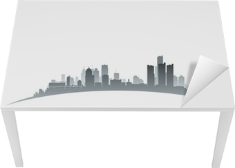 Bord- og skrivebordsklistremerke Detroit Michigan City skyline silhuett hvit bakgrunn