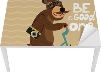 Bord- og skrivebordsklistremerke Hipster plakat med geek bjørn
