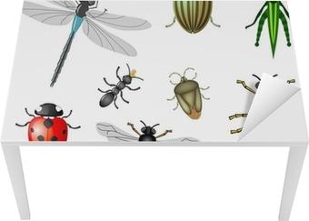 Bord- og skrivebordsklistremerke Insekter eller insekter, vektor samling