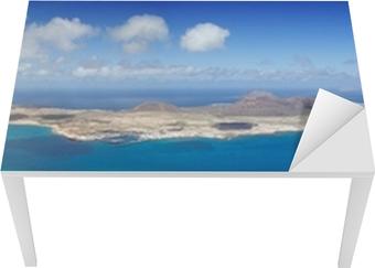 Bord- og skrivebordsklistremerke Panoramautsikt over La Graciosa, Lanzarote, Spania