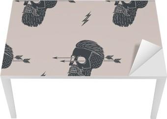 Bord- og skrivebordsklistremerke Sømløs mønster bakgrunn av vintage hodeskalle hipster med pil. Grafisk design for innpakningspapir og stofftekstur av skjorte. Vector Illustrasjon
