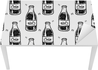 Bord- og skrivebordsklistremerke Sømløs mønster håndtegnet cola flaske. doodle black sketch. tegn symbol. dekorasjonselement. isolert på hvit bakgrunn. flatt design. vektor illustrasjon