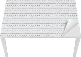Bord- og skrivebordsklistremerke Søt håndtegnet sømløs vektor mønster med havbølger, på en hvit bakgrunn. skandinavisk design stil. konsept for sommer, strand, barn tekstil utskrift, tapet, innpakningspapir.