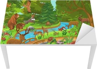 Bord- og skrivebordsklistremerke Ville dyr som bor i skogen