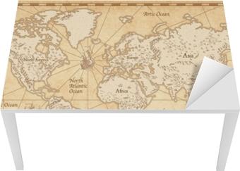 Bord- og skrivebordsklistremerke Vintage illustrert verdenskart