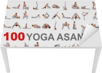 Bureau- en Tafelsticker 100 yoga houdingen op een witte achtergrond