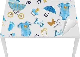 Bureau- en Tafelsticker Baby shower jongen naadloze patroon. vector aquarel kinderen achtergrond.