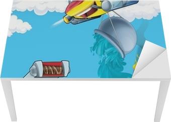 Bureau- en Tafelsticker De auto en de vliegende machine