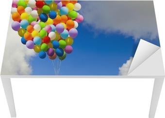 Bureau- en Tafelsticker Meisje met kleurrijke ballonnen