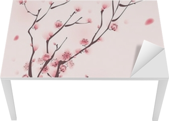 Bureau- en Tafelsticker Oosterse stijl schilderen, kersenbloesem in het voorjaar