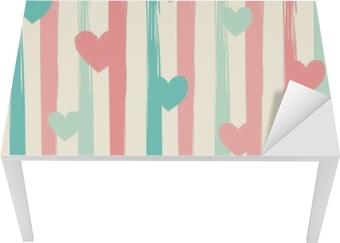 Bureau- en Tafelsticker Pastel strepen en harten. naadloze vector patroon.