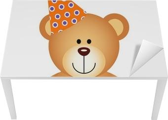 Bureau- en Tafelsticker Teddybeer met Birthday Cake