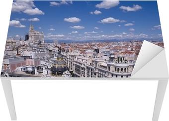 Bureau- en Tafelsticker Uitzicht op de Gran Via van Madrid (Spanje)