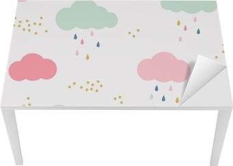 Behang Kinderkamer Scandinavisch : Canvas vector kinderen patroon met wolken regendruppels en stippen