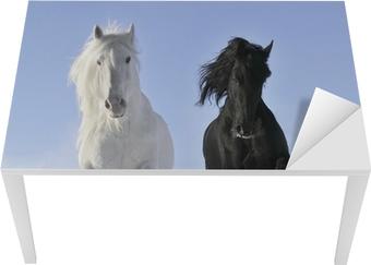 Bureau- en Tafelsticker Wit en zwart paard