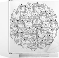 Boyama Kitabı Için Kış Daire şekli Desen Komik Baykuşlar Noel