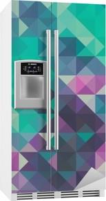 Buzdolabı Çıkartması Üçgen arka plan, yeşil ve mor